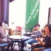 カフェスペースで